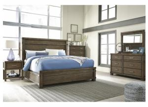 MB121 Dark Brown King Panel Bed, Dresser, Mirror & Nightstand