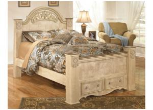 MB23 Old World Beige Queen Storage Poster Bed