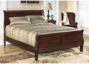 MB13 Louis Brown Cherry Queen Sleigh Bed