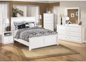 MB5 Cottage White Queen Bed, Dresser, Mirror & Nightstand