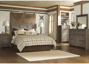 MB10 Rustic Oak Queen Headboard, Dresser, Mirror & Nightstand
