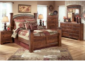 MB33 Warm Cherry Queen Poster Bed, Dresser, Mirror & Nightstand