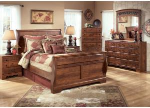 MB33 Warm Cherry Queen Sleigh Bed, Dresser, Mirror & Nightstand