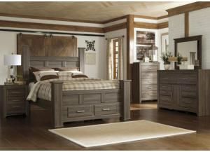 MB10 Rustic Oak Queen Storage Poster Bed, Dresser, Mirror & Nightstand