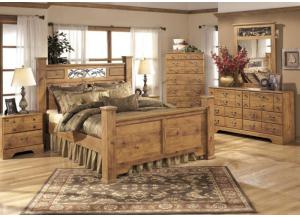MB9 Light Pine Country Queen Poster Bed, Dresser, Mirror & Nightstand