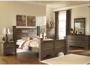 MB15 Aged Oak Queen Storage Poster Bed, Dresser, Mirror & Nightstand