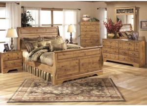 MB9 Light Pine Country Queen Sleigh Bed, Dresser, Mirror & Nightstand