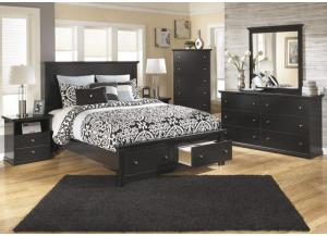 MB4 Cottage Black Queen Storage Bed, Dresser, Mirror & Nightstand