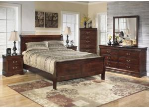 MB13 Louis Brown Cherry Queen Bed, Dresser, Mirror & Nightstand