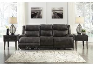 Brinlack Gray Power Reclining Sofa w/ Adjustable Headrest