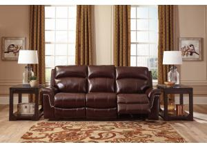 Burgundy Power Reclining Sofa w/ Adjustable Headrest