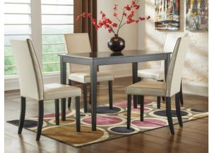 DR6 Contemporary Dark Dining Table & 4 Chairs