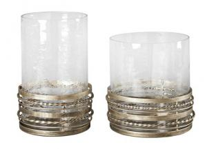 Glass Candle Holders: Set of 2