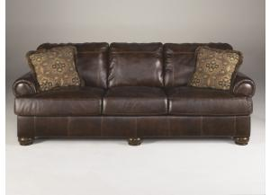 LR1 Walnut Full Leather Sofa