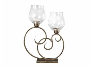 Gold Metal & Glass Double Candle Holder