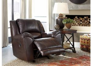 Axiom Walnut Leather Rocker Recliner