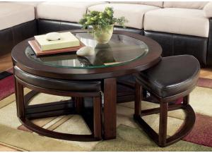 Dark Brown Cocktail Table with Four Backless Stools