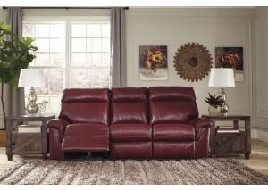 Crimson Power Reclining Sofa w/ Adjustable Headrest