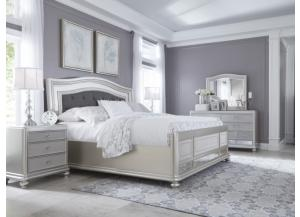 MB97 Silver Mirror King Bed, Dresser, Mirror & Nightstand