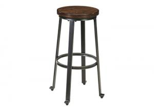 DR9 Rustic Brown & Metal Bar Height Stools: Set of 2