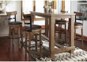 DR18 Weathered Gray Bar Table & 4 Stools