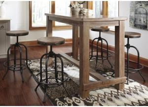 DR18 Weathered Gray Bar Table & 4 Backless Stools