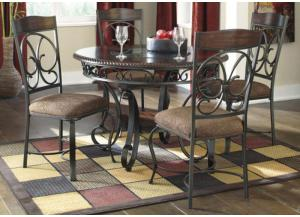 DR14 Wood & Scrolled Metal Dining Table & 4 Chairs