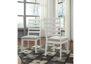 DR133 White & Brown Upholstered Side Chair: Set of 2