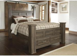 MB10 Rustic Oak Queen Storage Poster Bed
