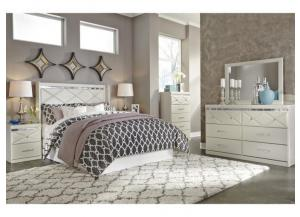 MB77 White Contemporary Queen Panel Bed, Dresser, Mirror & Nightstand
