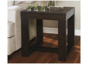Square End Table - Dark Brown Contemporary