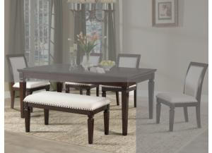DR89 Nailhead Fabric Dining Bench