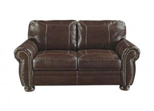 Coffee Leather Seating Loveseat from the Traditional Collection