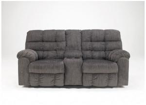 LR14 Grey Reclining Loveseat with Console