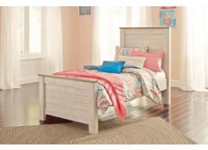 MB107 2-Tone White Wash Twin Panel Bed