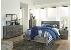 MB151 Black and Gray  Queen Panel Bed, Dresser, Mirror and Nightstand