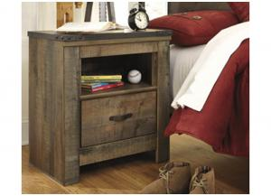 YB13 Vintage Brown 1-Drawer Nightstand