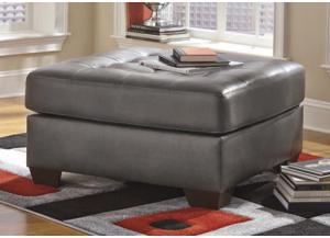 LR48 Gray Contemporary Leatherblend Oversize Ottoman