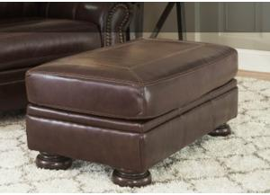 Coffee Leather Seating Ottoman from the Traditional Collection