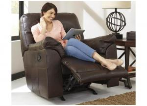 Chocolate Leatherblend Rocker Recliner