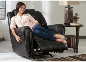 LR10 Black Nailhead Rocker Recliner