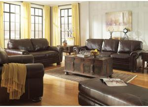 Coffee Leather Seating Sofa from the Traditional Collection