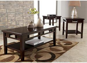 Dark Brown Finish 3-Pack Table Set