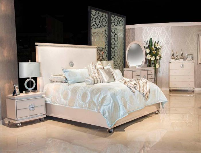 Glimmering Heights King Bed, Dresser, Mirror and 2 Qty Nstand,Michael Amini