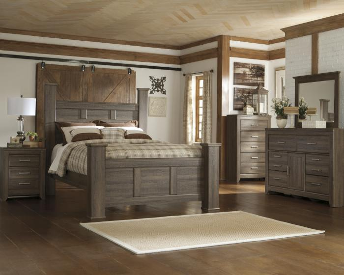 JUARARO 4PC QUEEN BED, DRESSER, MIRROR AND NIGHSTAND,ASHLEY