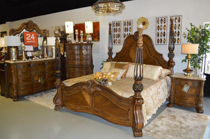 Eden's Paradise King Bed, Dresser, Mirror and Nstand,Michael Amini