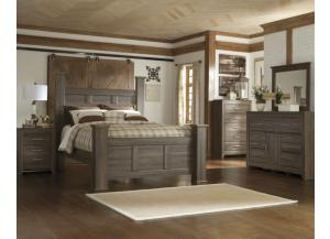 JUARARO 4PC QUEEN BED, DRESSER, MIRROR AND NIGHSTAND