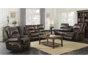 BROWN TOP GRAIN LEATHER, POWER SOFA AND LOVE RECLINING SET ,Elements International