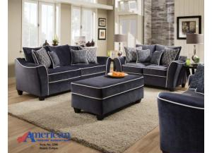 AMERICAN DARK BLUE SOFA AND LOVESEAT
