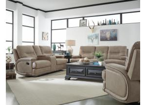 2pc McKinley Power Reclining Console and Manual Reclining Sofa
